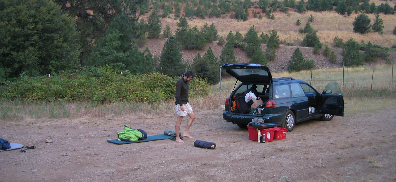 After leaving late Friday, we just camped at the fishing hole...right off I-5, under the stars.
