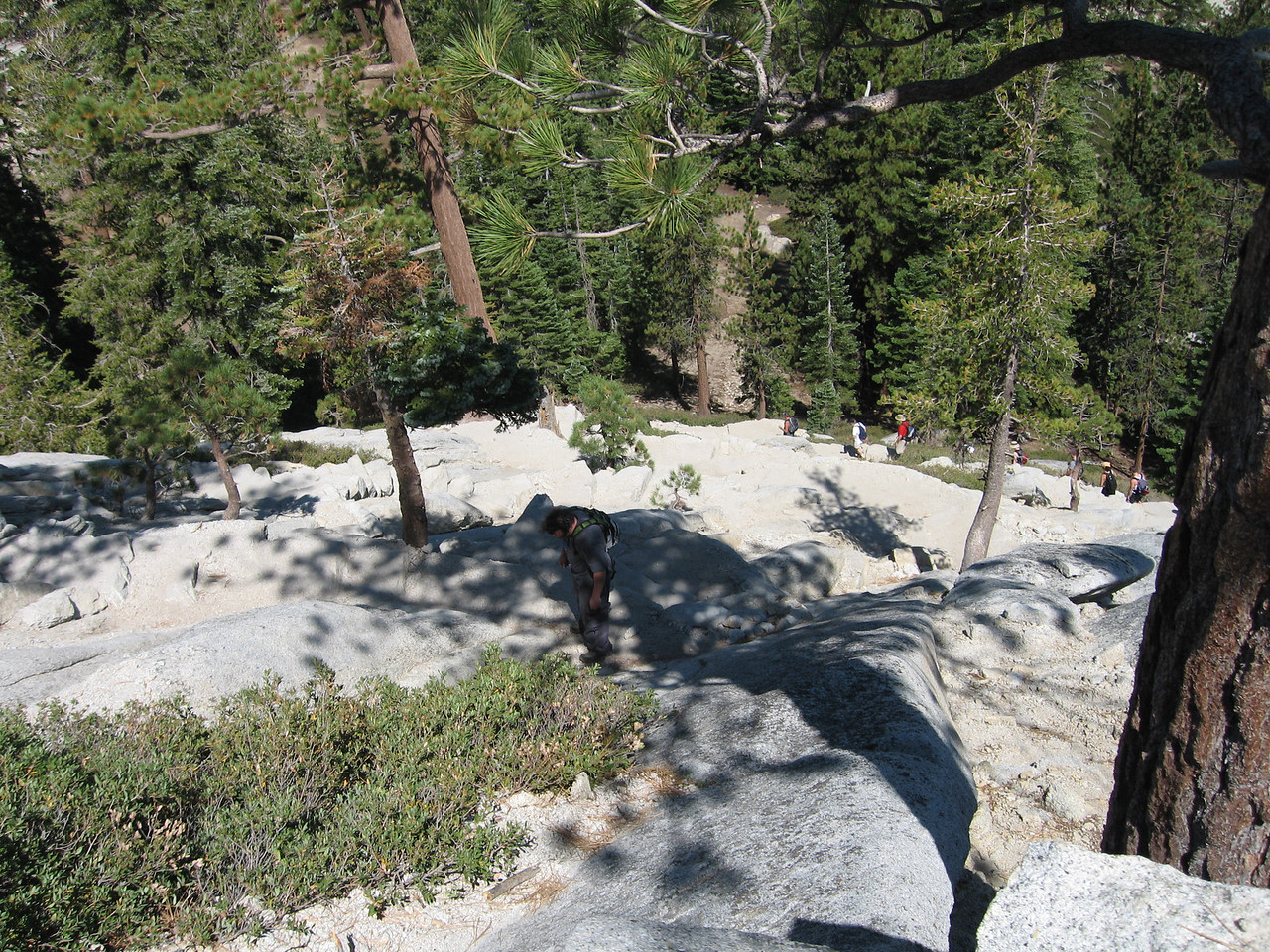 The switchbacks on the way up to the shoulder of half dome.