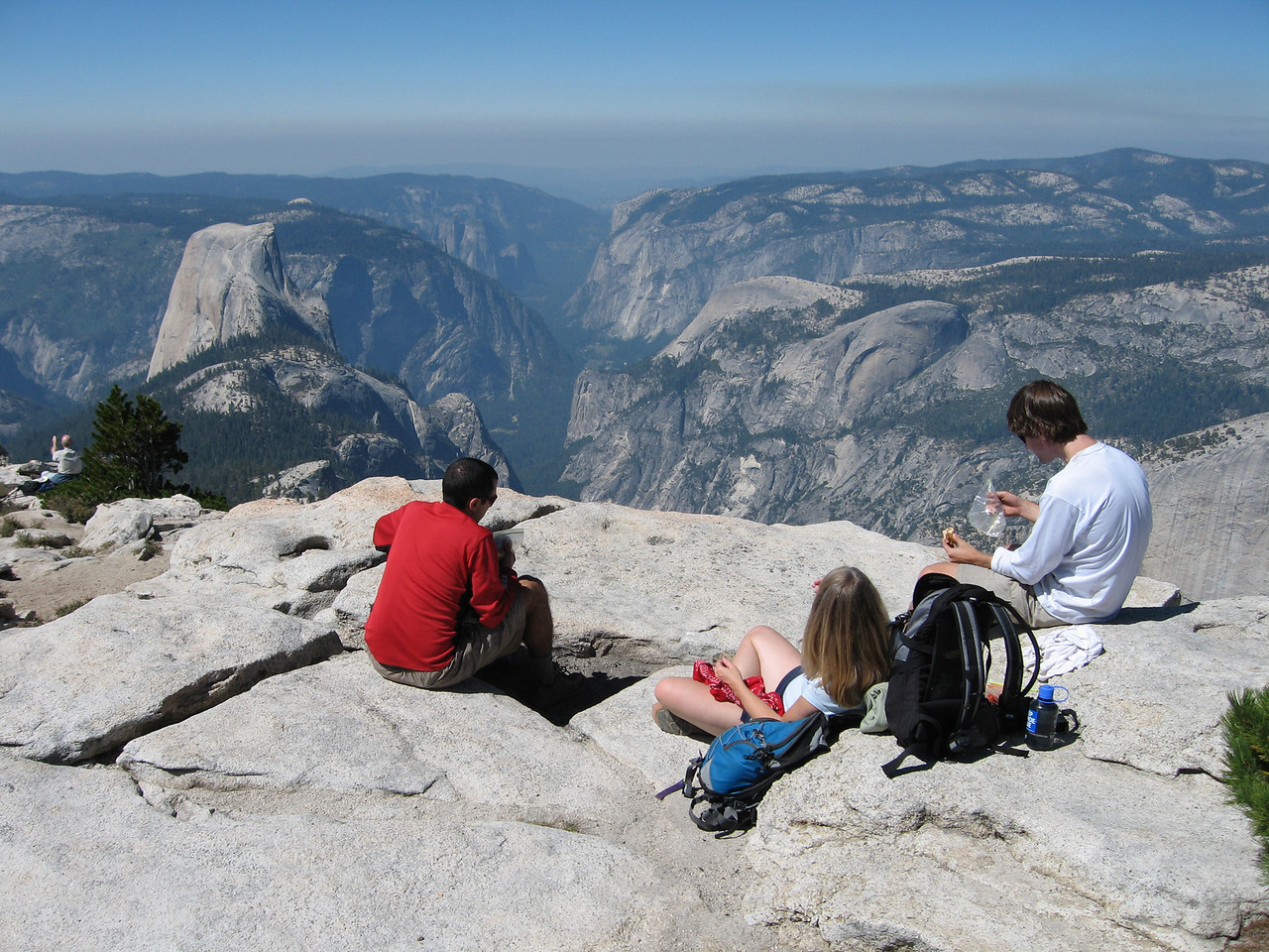 Took a nice lunch break at the top staring at our next destination (halfdome) straight ahead of us.