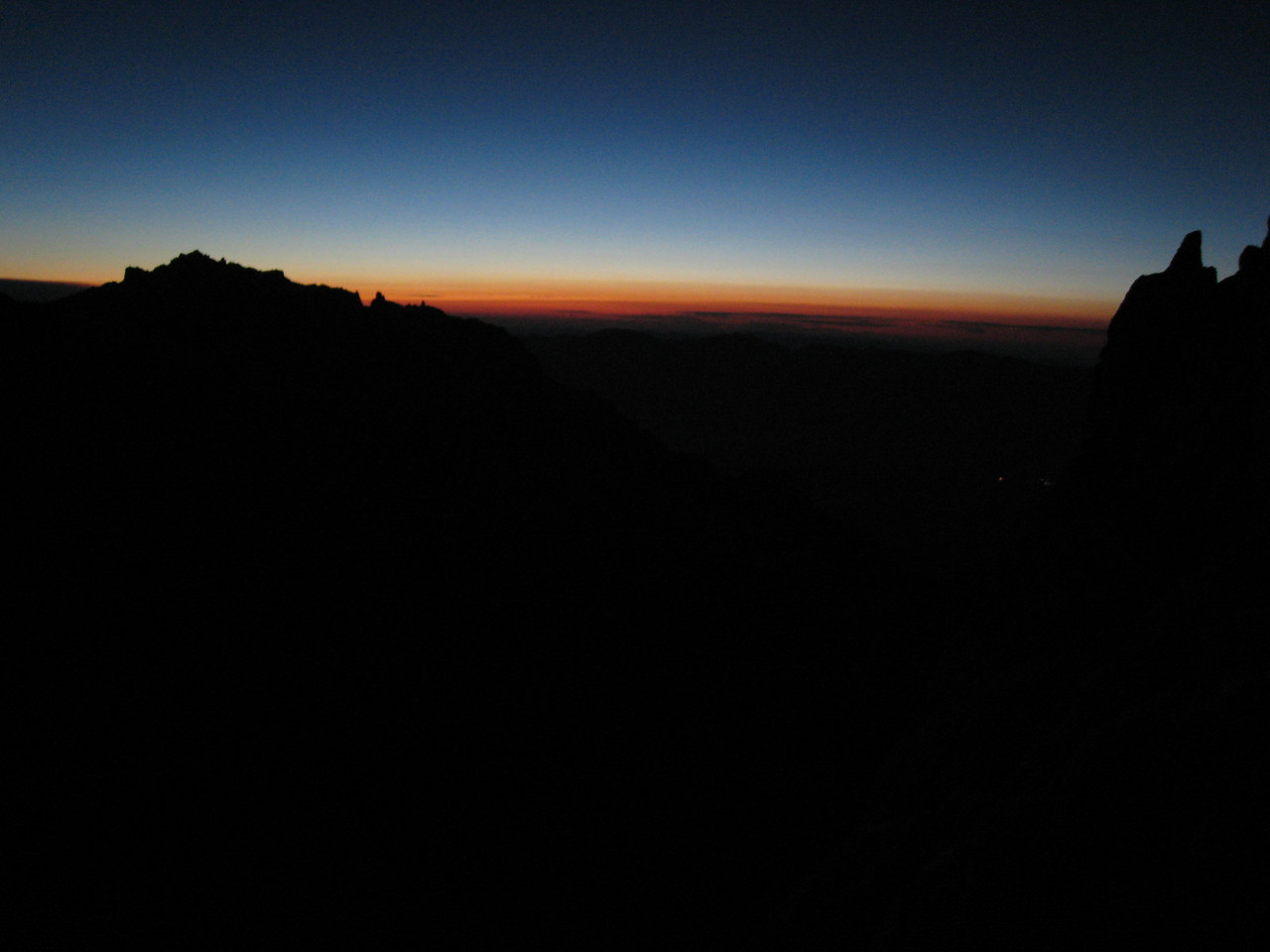 "Saturday Morning...<br /> <br /> Our ""alpine start""  the crescent moon was still up and we didn't have to use our headlamps."