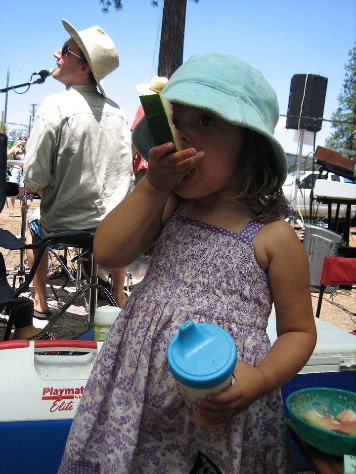 I've got some of Kim's pics mixed in here as well from High Sierra Music Fest.  This is what she was up to while we were descending Mt. Whitney.  <br /> <br /> Here's Anna!!!<br /> <br /> I think she like her watermelon.