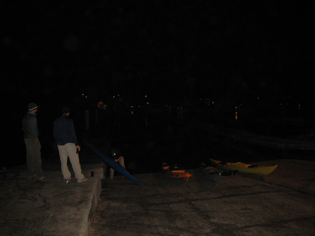 Putting in our boats.  Went out for about 2 hours in the moon/industrial complex light.  Alex and I saw a barn owl... Funk got chased by an alligator.  Lot's of birds and critters out on Bair Island.
