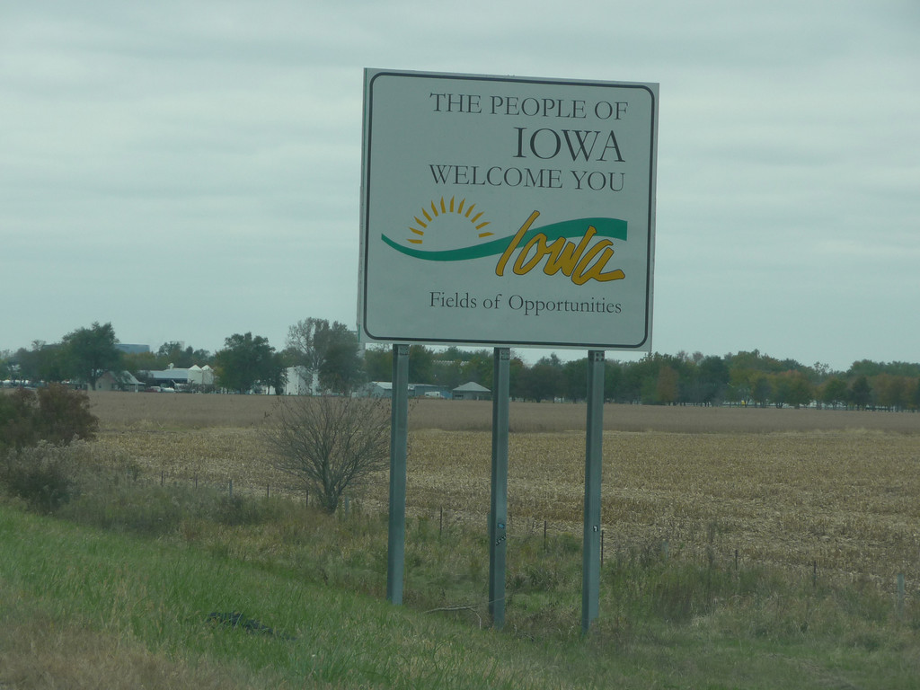 Iowa (Welcome State Road Sign)