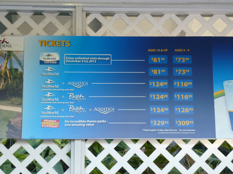 SeaWorld (Ticket Prices)