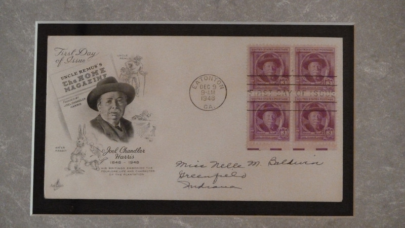 First Day of Issue stamp honoring Joel Chandler Harris, postmarked in his hometown of Eatonton, GA.  His stamp also belongs to the same series as the stamp of his favorite author, Edgar Allen Poe.
