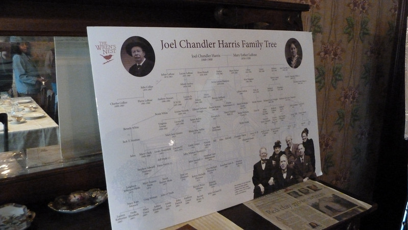 Joel Chandler Harris' Family Tree.  It even includes his great-great-great grandson, Lain Shakespeare, the Executive Director of the Wren's Nest.