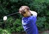 Jake Swartz watches his drive during the Saginaw District Golf Association Tournament qualifier Sunday at Green Acres Golf Course, Bridgeport.