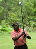 Chriss Chaffer Sr. watches his drive during the Saginaw District Golf Association Tournament qualifier Sunday at Green Acres Golf Course, Bridgeport.