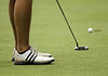 The putt of Brandon Brown approaches the cup during the Saginaw District Golf Association Tournament qualifier Sunday at Green Acres Golf Course, Bridgeport.