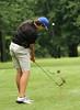 Brandon Brown with an iron shot during the Saginaw District Golf Association Tournament qualifier Sunday at Green Acres Golf Course, Bridgeport.