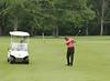 Chris Chaffer Sr. with a chip shot during the Saginaw District Golf Association Tournament qualifier Sunday at Green Acres Golf Course, Bridgeport.