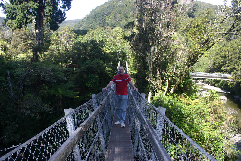 Me on the swing bridge at Kaitoke Regional Park