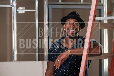 Darian Bryan at the construction site for his new restaurant at the Millrace Commons.