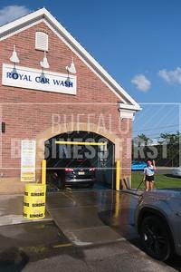 Vehicles enter Royal Car Wash's Transit location.