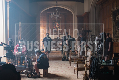 A scene during the movie's filming  at the Clement Mansion.