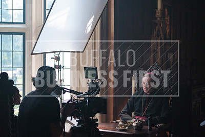 Actor David Morse plays Archibishop Corrigan during the filming at the Clement Mansion.