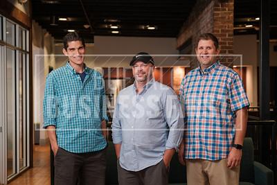 Scott Faldo, CTO, Patrick O'Brian, CEO, and Karl Newell, CIO,  LenderLogix, at the company's Larkenville offices.