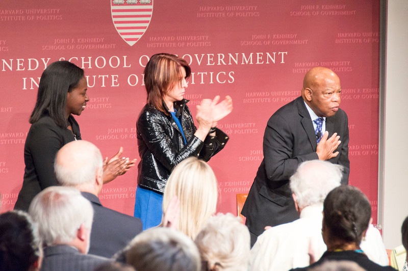 Rep. John Lewis, recipient of the 2017 Gleitsman Citizen Activist Award, graciously receives a third standing ovation at the conclusion of a conversation honoring his relentless activism.