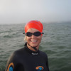 Cathy Speizman from Charlotte N.Carolina attempting an Alcatraz swim in a rough day in the Bay