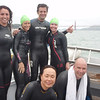 ALCATRAZ CLINIC at ALCATRAZ : JULY 15, 2011= Shandra Rica-McHale, Hope Gelbach,  Roberto Anji  Patricia Velho,Yuko Kasuya, Jeroen Van rotterdam<br /> Relaxing after hard swim work in the Bay