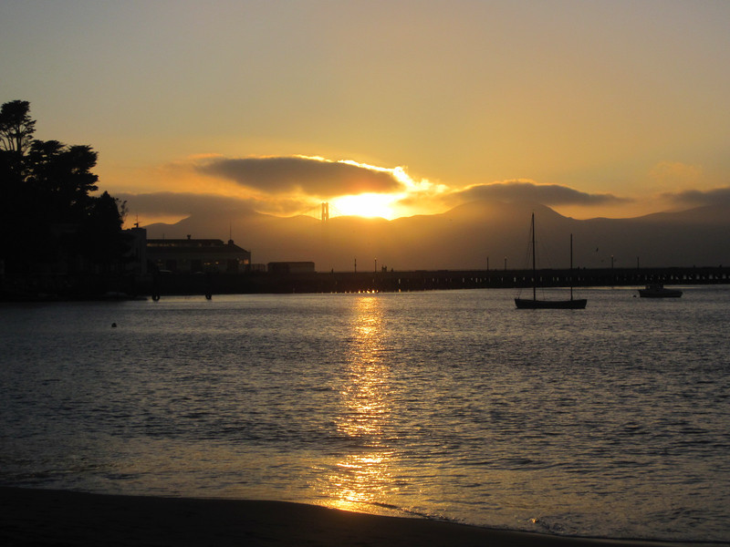 Sunset at Aquatic Park, Golden Gate Bridge and Marin Headlands in the distance