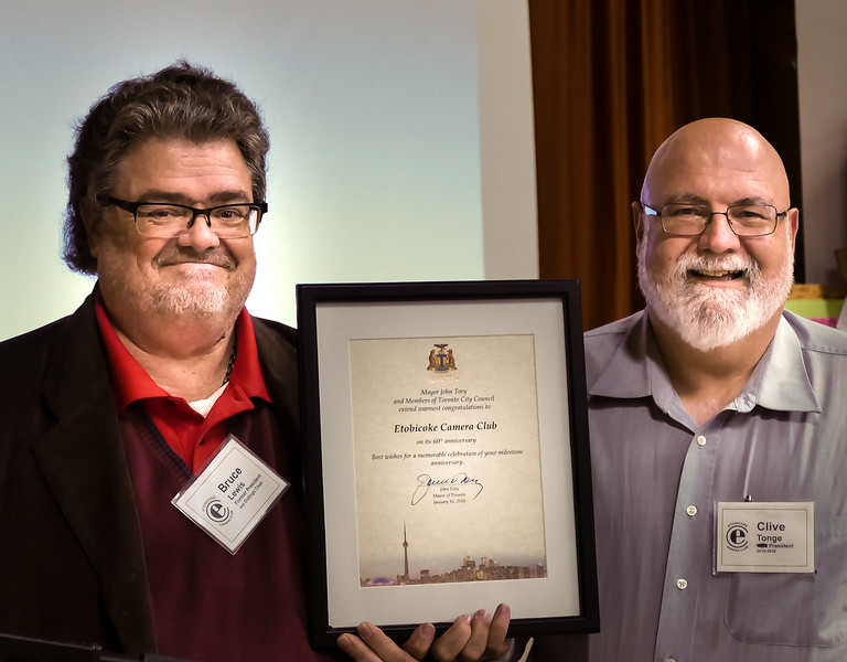 """Past President Bruce Lewis surprised us all with a framed """"congratulations"""" from Mayor John Tory for our 60 years since founding on Jan 17, 1957  (soon to be 62 years)"""