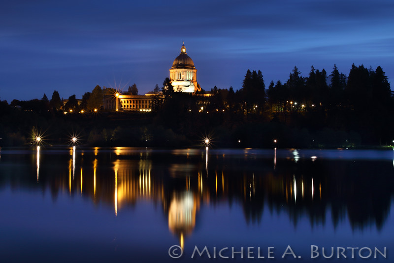 Washington State Capitol Building Reflected in Capitol Lake at Night