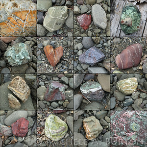 A variety of rocks found on the banks of  South Fork Skokomish River.  Olympic National Forest March 2020