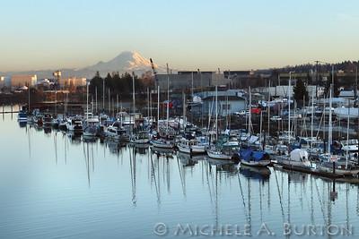 Mt Rainier and the Duwamish River at dusk Seattle, Washington February 27, 2020