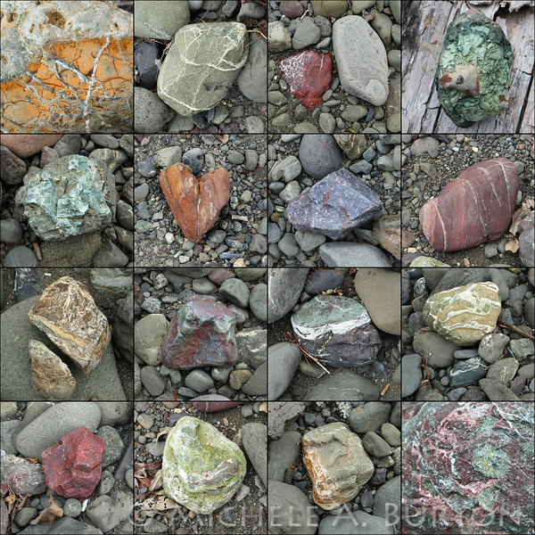 A variety of rocks found on the banks of  South Fork Skokomish River. <br /> Olympic National Forest<br /> March 2020