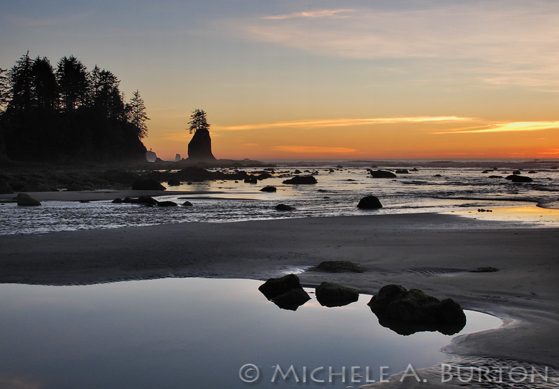 Sunset view of Cape Alava Sea stacks from Ozette River in Olympic National Park, Washington State