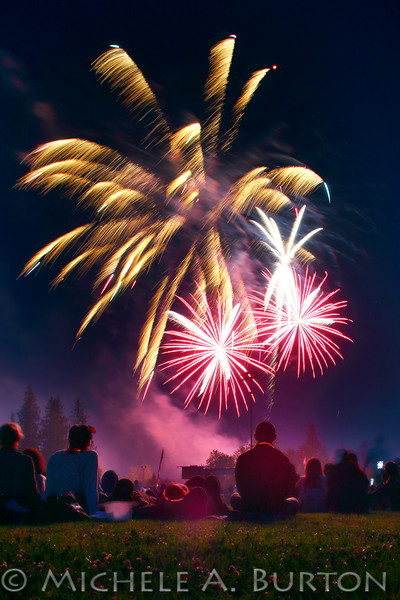 Fireworks light up the night sky at Tumwater's 16th Annual Artesian Family Festival & Thunder Valley Fireworks Show<br /> July 4, 2016