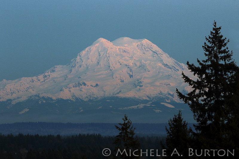 Mount Rainier just after sunset<br /> February 19, 2020