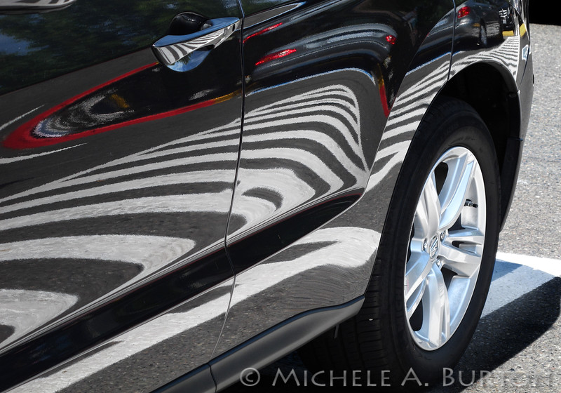 """zebra"" car in supermarket parking lot<br /> <br /> July 14, 2015"