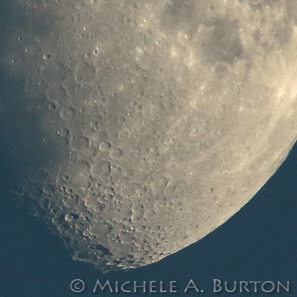 Craters of the Moon visible just before Sunset. The moon is waxing and will be full in 6 days time