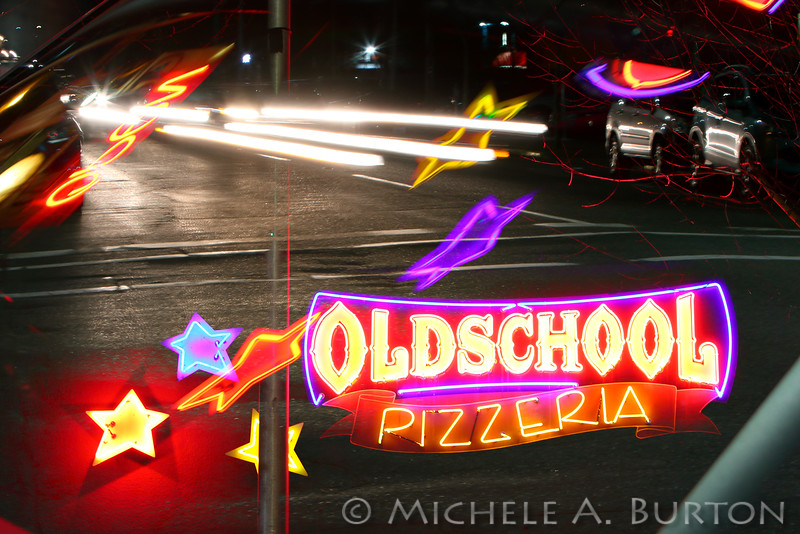 Downtown Olympia Friday Night #1 <br /> (Old School Pizzeria)<br /> <br /> Olympia, WA<br /> February 13, 2015<br /> Multiple Exposure in-camera