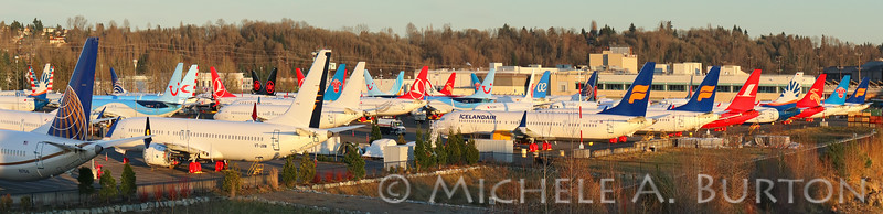 Grounded 737 MAX airplanes fill an employee parking lot while waiting FAA clearance<br /> Boeing Field<br /> Seattle, Washington<br /> February 27, 2020
