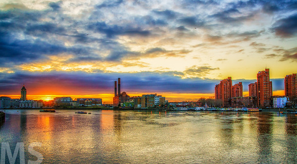 Battersea Power House against a rare beautiful London Sunset.