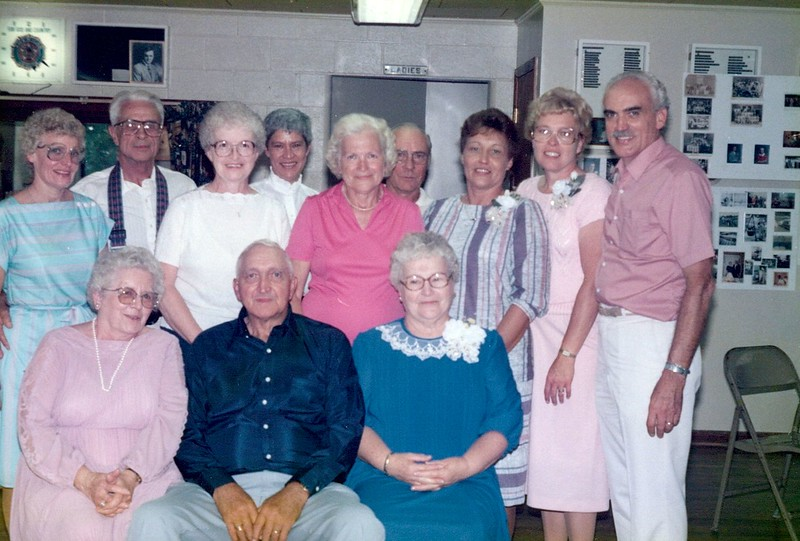 front (L to R) :   Gertrude Pontius; John Gilette Pontius; Mildred Pontius<br /> Second Row (L to R):  Janet Shelhammer; Paul Shelhammer; Suzanne Folk; Norma Jean Pontius; Beulah Taylor; Jim Taylor; Dorothy Thomson; Phyllis Weiker; Jim Pontius