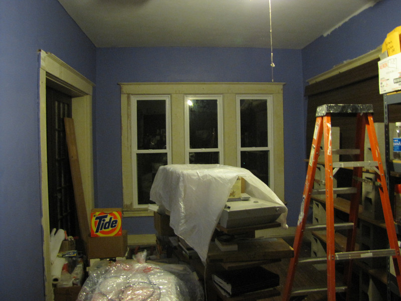wall on the left backs up to our bedroom. Note the dark windows; I was up at 4 in the morning to begin painting