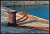 Mooring post at Mullion Cove, Cornwall
