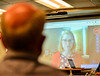 U.S. Congressman Peter Welch (Vt-D) listens to a presentation about telehealth during a visit to Brattleboro Memorial Hospital, in Brattleboro, Vt., on Friday, June 4, 2021.