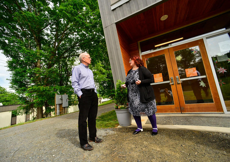 Jennifer Struble, executive director for New England Center for Circus Arts, in Brattleboro, Vt., talks with U.S. Congressman Peter Welch (Vt-D) about the PPP loans during a visit on Friday, June 4, 2021.