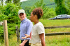 U.S. Congressman Peter Welch (Vt-D) talks with Amber Arnold, a co-founder of SUSU CommUNITY Farm, in Brattleboro, Vt., during a visit on Friday, June 4, 2021. SUSU CommUNITY Farm is a BIPOC-led community farm that offers access to safe and affirming food.