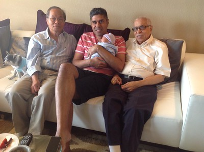 Ayan with his daddy and both grandfathers.