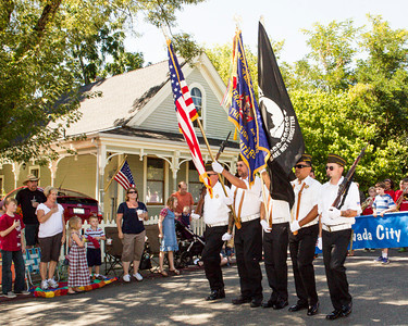 Nevada City Veterans of Foreign Wars Color Guard leads the parade