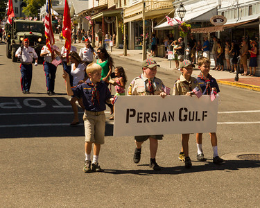 Cub Scouts with Persian Gulf War banner