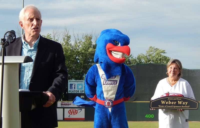 Former Lowell Spinners owner Drew Weber speaks before throwing out the first pitch at Wednesday's game, when a road next to LeLacheur Park was named Weber Way in his honor. SUN/AARON CURTIS