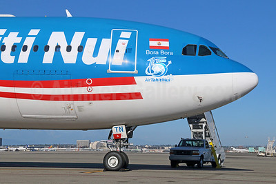Air Tahiti Nui Airbus A340-313 F-OJTN (msn 395) (15 Years) LAX. Image: 922543.