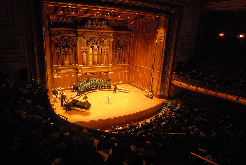 Jordon Hall at New England Conservatory.  Javi is in the chorus that performed here.